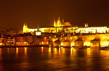 Panorama of evening Prague. Czech Republic.