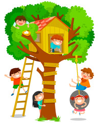 children playing in a tree house