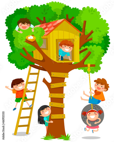 children playing in a tree house - 66913550
