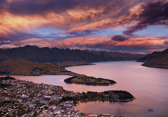Queenstown at sunset, New Zealand