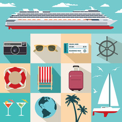 Cruise ship vacation flat icon set