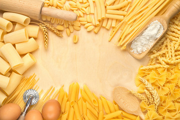 pasta types and kitchen utensils