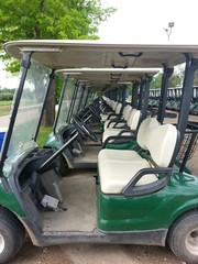 Long row of golf carts