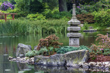 japanese garden - stone tower and island