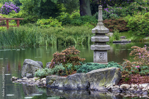 japanese garden - stone tower and island - 66914558