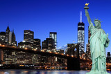 Brooklyn Bridge and The Statue of Liberty at Night - 66914794