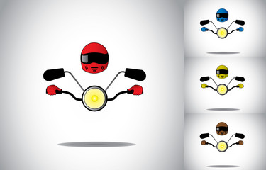 motorcycle motorbike driver helmet riding abstract concept set