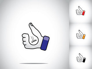 thumbs up hand illustration symbol with lightbulb idea concept