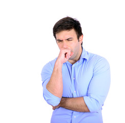 Portrait of young man coughing isolated on white