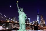 Brooklyn Bridge and The Statue of Liberty at Night - 66914904