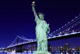 Manhattan Bridge and The Statue of Liberty at Night - 66914922