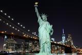 Brooklyn Bridge and The Statue of Liberty at Night - 66914973