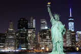 Manhattan Skyline and The Statue of Liberty at Night - 66915101