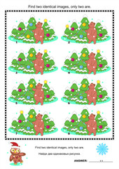 Christmas puzzle - find two identical images of trees and bear