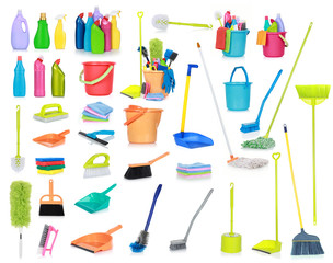 Cleaning supplies isolated on white background