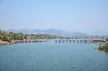 Saphan Mon - longest wooden bridge in Sangkhlaburi Kanchanaburi
