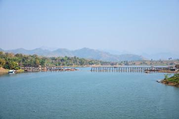 Saphan Mon - longest wooden bridge in Sangkhlaburi Kanchanaburi
