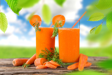 Fresh carrot juice, healthy drinks.