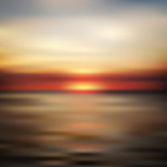 Ocean sunset blurred landscape