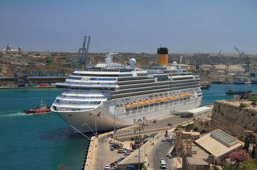 Cruise liner in port. Valletta, Malta