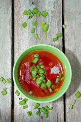 Beetroot soup with green onions