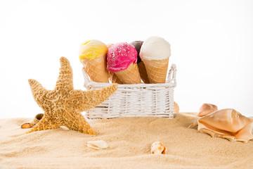 Ice cream scoops on sandy beach.
