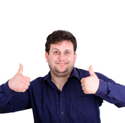 Portrait of happy young businessman holding thumbs up isolated o
