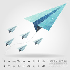 polygon paper plane on leader concept with business icon