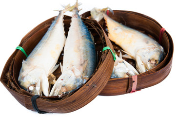 Thai Mackerel fish in the bamboo basket