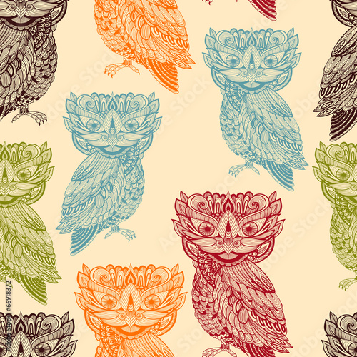 Vector Seamless Pattern with Bright  Owls - 66918372