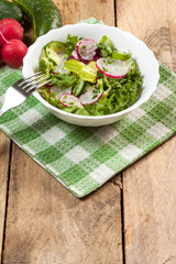 Salad with radish and green cucumber