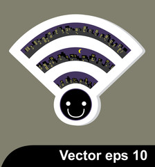 Wireless Network wifi icon, vector illustration