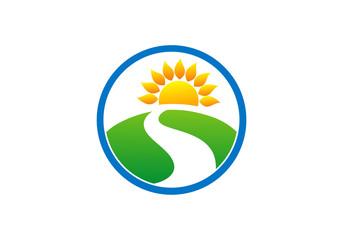 landscape nature road and sun icon vector
