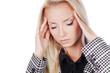 Woman headache portrait, touching head. Business woman. White ba