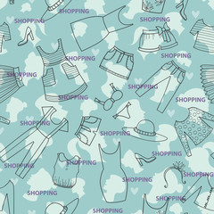 Vector pattern with ladies wear for use in design