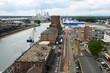 canvas print picture - Blick auf den Karlsruher Hafen von oben