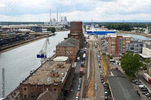canvas print picture Blick auf den Karlsruher Hafen von oben