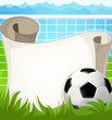 Soccer ball  with paper scroll