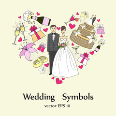 Vector stylized heart with wedding symbols