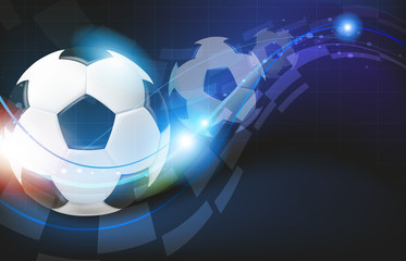 Soccer balls on blue background