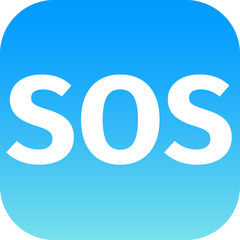 SOS icon - white text on blue background