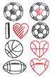 soccer ball, football and basketball, vector set