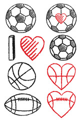 soccer ball, football and basketball, vector set