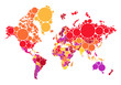 abstract dot world map with countries, vector