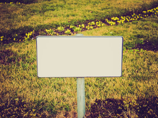 Retro look Blank sign