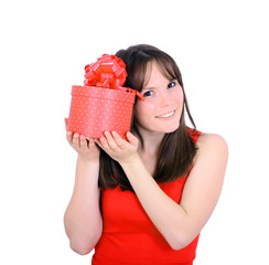Young woman portrait hold gift in christmas color style