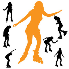 Vector silhouette girls.