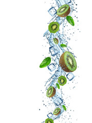 Fresh Kiwi with water splash