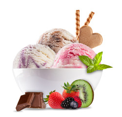 Ice cream in porcelain bowl on white background