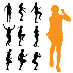 Vector silhouettes of woman.